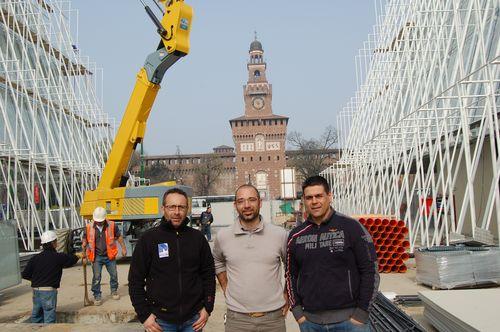 Da sinistra Massimiliano Inconis, capocantiere Stahlbau Pichler, Armando Nonnis e Salvatore Nugara