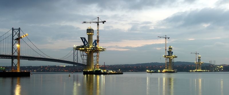 Panoramic of the three towers at dusk