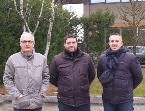 Da sinistra Giorgio Guidi, titolare Co.E.S.I, Elia Piero Peroni, responsabile dell'omonima società e Giovanni Ferrari, direttore tecnico Co.E.S.I