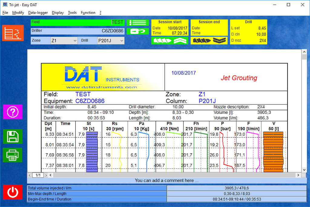 Easy DAT, software subscription, dat instruments, special foundation, geotechnical and mineral investigation jobs: jet grouting, cement injection, GIN, TAM grouting, compensation grouting, drilling, DAC test, CFA, deep mixing (DSM), soil mixing, vibroflotation, sand compaction piles (SCP), diaphragm walls, hydromills and Lugeon tests.